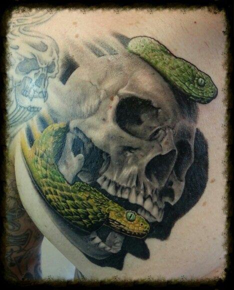 Skull and snakes. Skull is healed