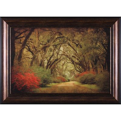 Art Effects Road Lined with Oaks and Flowers by William Guion Framed Photographic Print