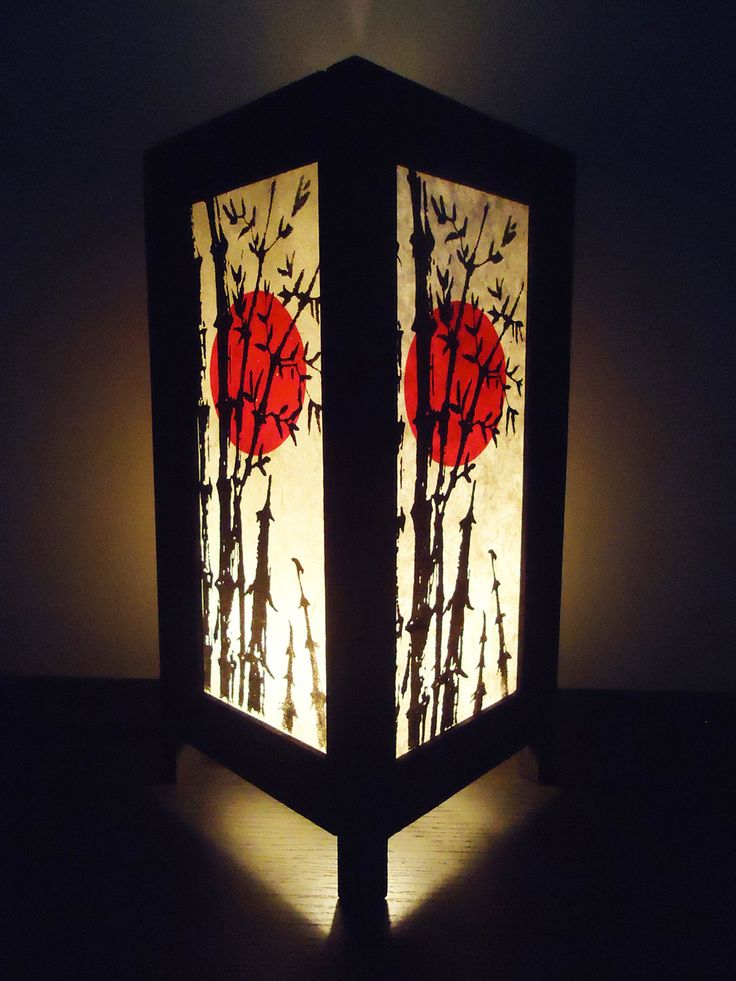 Asian Oriental Japanese Sunset Bedside Floor or Table Lamp Shades Wood or Bedside Paper Light Shades Furniture Home Decor. $15.97, via Etsy.