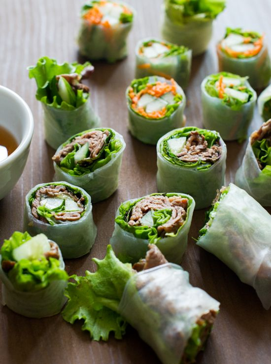 Fresh Sring Roll Bites and Recipes from White On Rice Couple http://whiteonricecouple.com/recipes/spring-roll-bites/