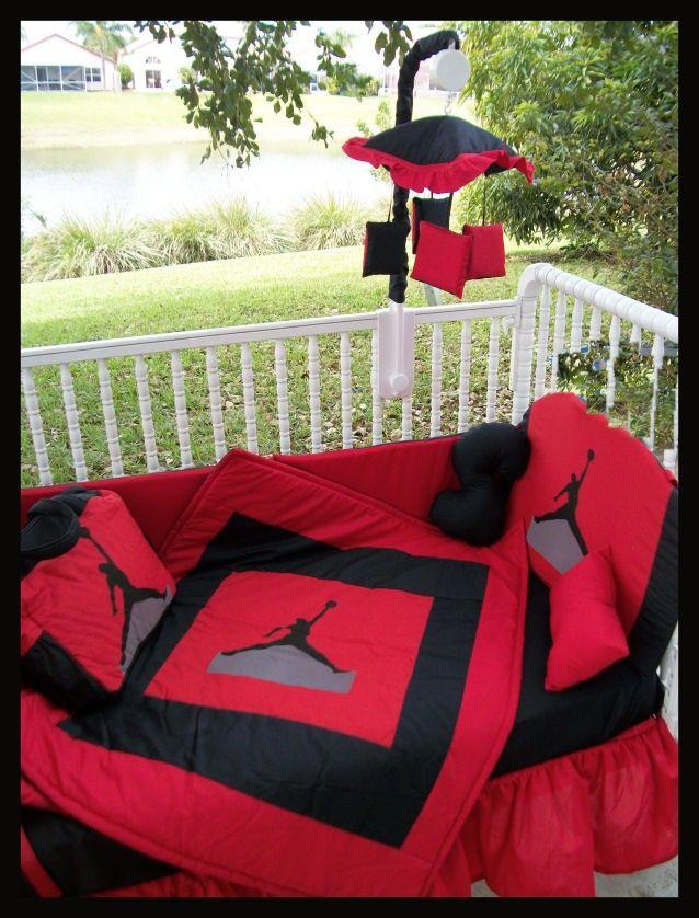 New Custom made MICHAEL JORDAN JUMPMAN Crib Bedding Set, Mobile and Diaper Bag. $390.00, via Etsy.