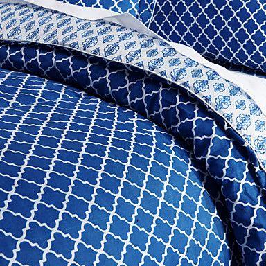 3 Piece - modern samtida stil blå och vit Lappande Trellis Aren – SEK Kr. 345