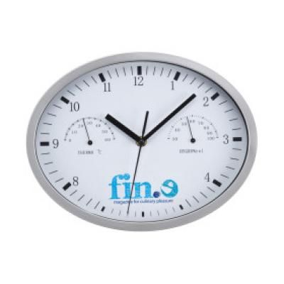 Image of Promotional Wall Clock With Hygrometer And Thermometer. Printed Wall Clock In White.