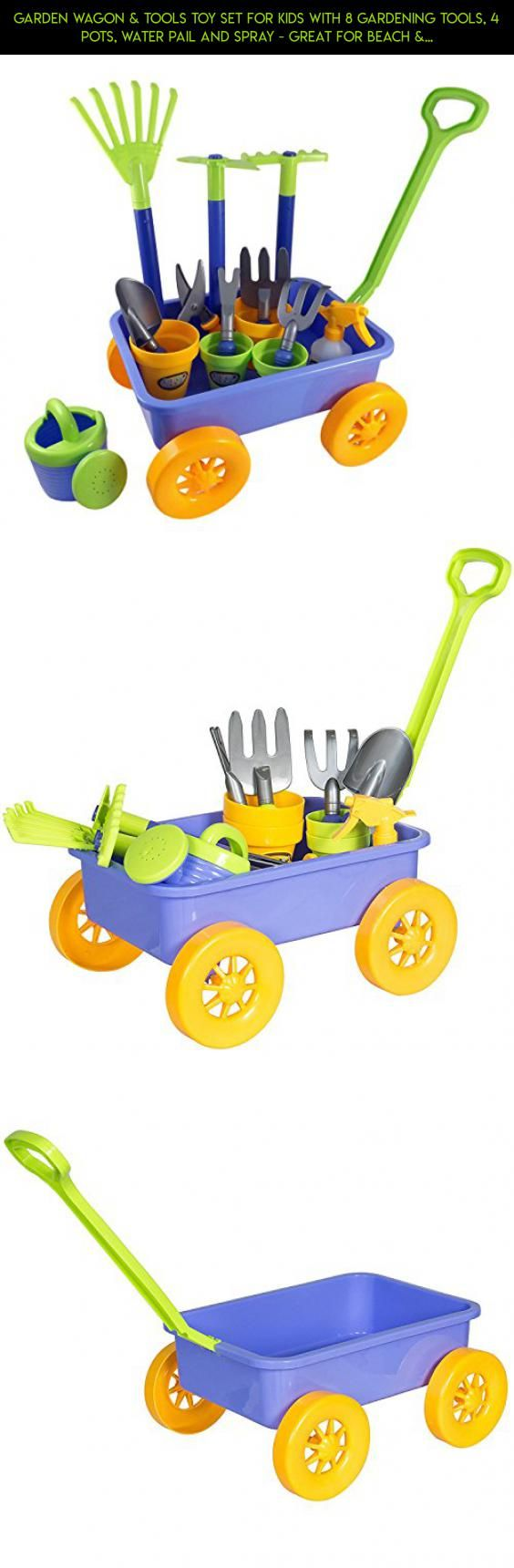 Garden Wagon & Tools Toy Set for Kids with 8 Gardening Tools, 4 Pots, Water Pail and Spray - Great for Beach & Sand Too! #fpv #for #gadgets #products #drone #shopping #parts #plans #kids #technology #tech #racing #camera #kit #gardening