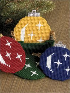 Christmas Ornament Coaster Set 1/3