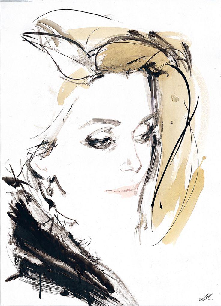 Potential BELLE DE JOUR Criterion Cover Art - Catherine Deneuve portrait by illustrator David Downton - Such amazing loose paint strokes