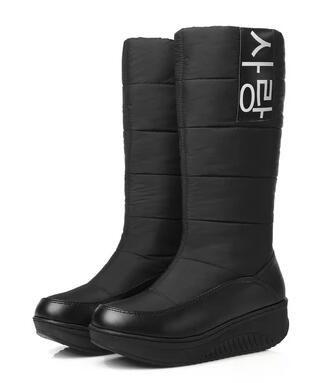 Ucuz 2017 yeni yüksek kaliteli kar botları süper sıcak aşağı pu deri takozlar diz yüksek çizmeler kadın ayakkabı kadın siyah & beyaz, Satın Kalite Kar Botları doğrudan Çin Tedarikçilerden: