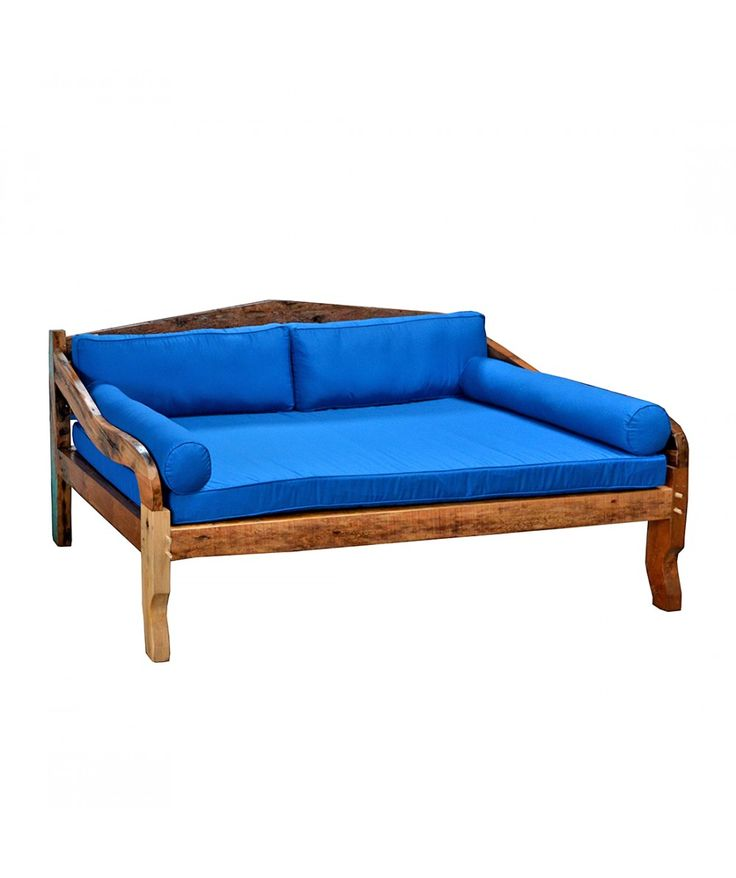 Salvage - Boatwood Daybed With Blue Cushions   - Easterly