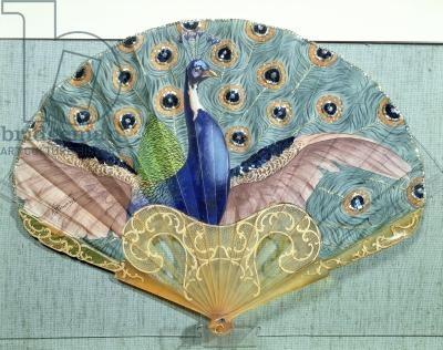 Peacock fan, circa 1905 (horn & silk)