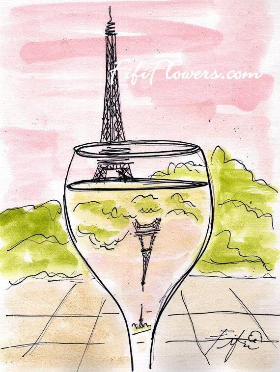 Pariser rosa Himmel Wein von fififlowers auf Etsy, $5.00
