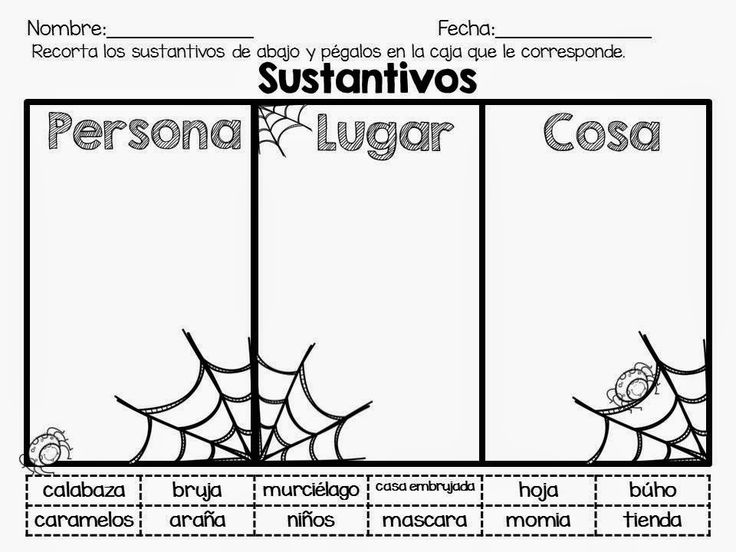 Halloween Noun Freebie in Spanish and English