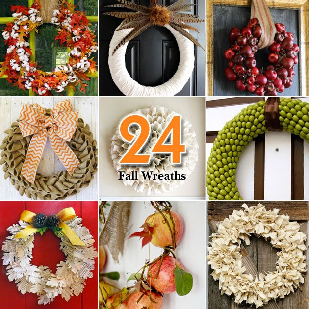"""#Fall decor ideas! Check out the """"24 Creative Fall Wreaths"""" from Pretty Handy Girl #homedecor"""