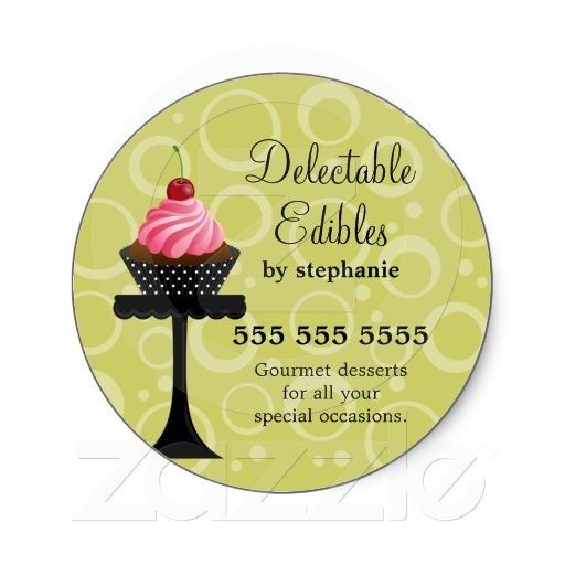 Cherry cupcake bakery stickers