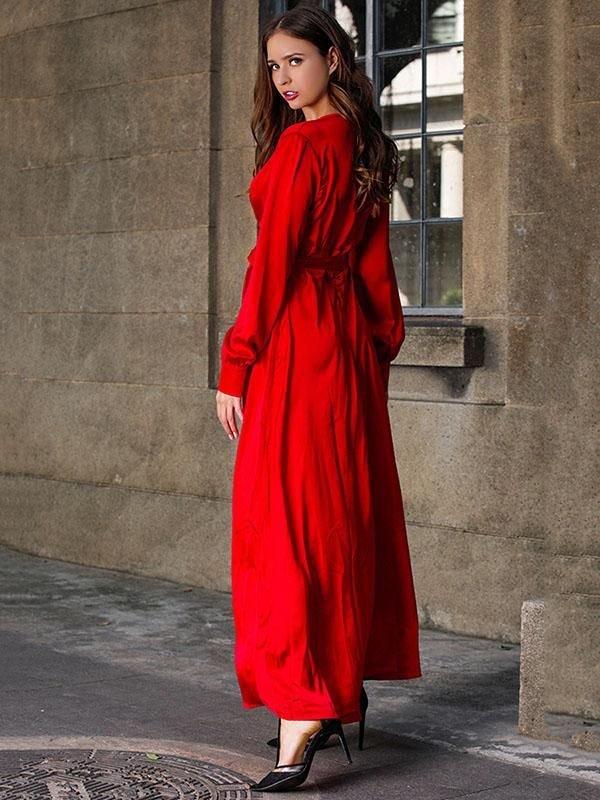 b1076e10e6 V-neck Long Sleeves Solid Color Belted Maxi Evening Dress – chicboho ...