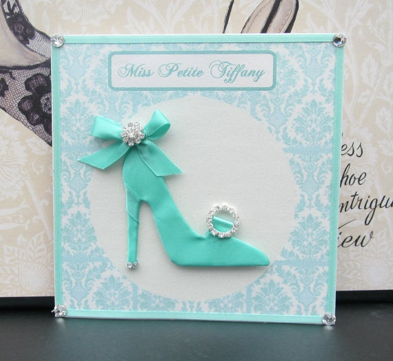Miss Petite Tiffany Shoe Personalized Card / 140mm by BSylvar, $18.00