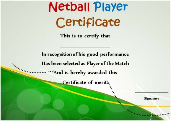 Netball Tournament Certificate Netball Certificates Pinterest