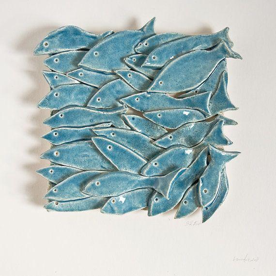 Fish tile 32 fish ceramic tile nautical nature for Ceramic fish sculpture