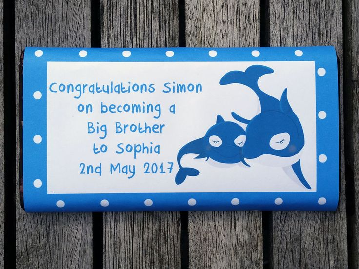 Personalised Chocolate Gift for a new brother.  Can be personalised with Brother's name, babies name and date of birth.