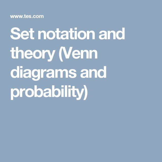 Set notation and theory (Venn diagrams and probability)