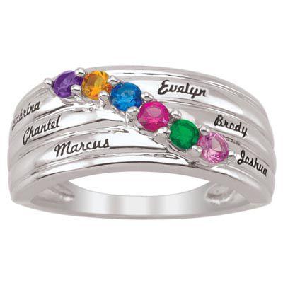 Zales Mothers Birthstone and Diamond Accent Swirl Dome Ring (2-6 Stones) 6FtjvxA