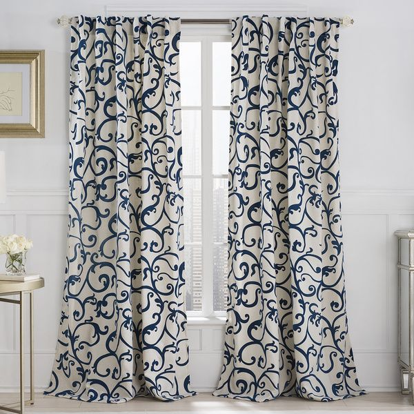 Vcny Brandy Flocked 84 Inch Back Tab Curtain Panel By Vcny Neutral Colors Colors And Blue