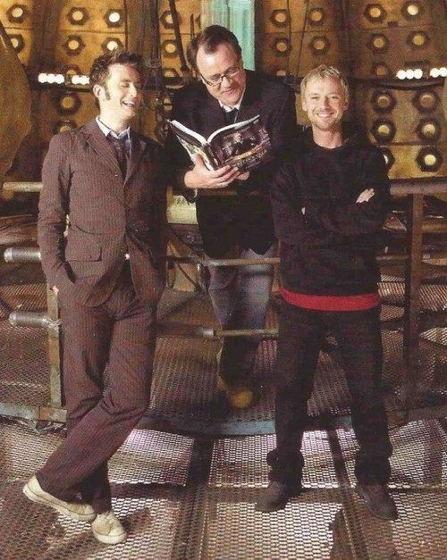 So much talent in this picture. David Tennant, Russell T Davies, John Simm. GUYS.