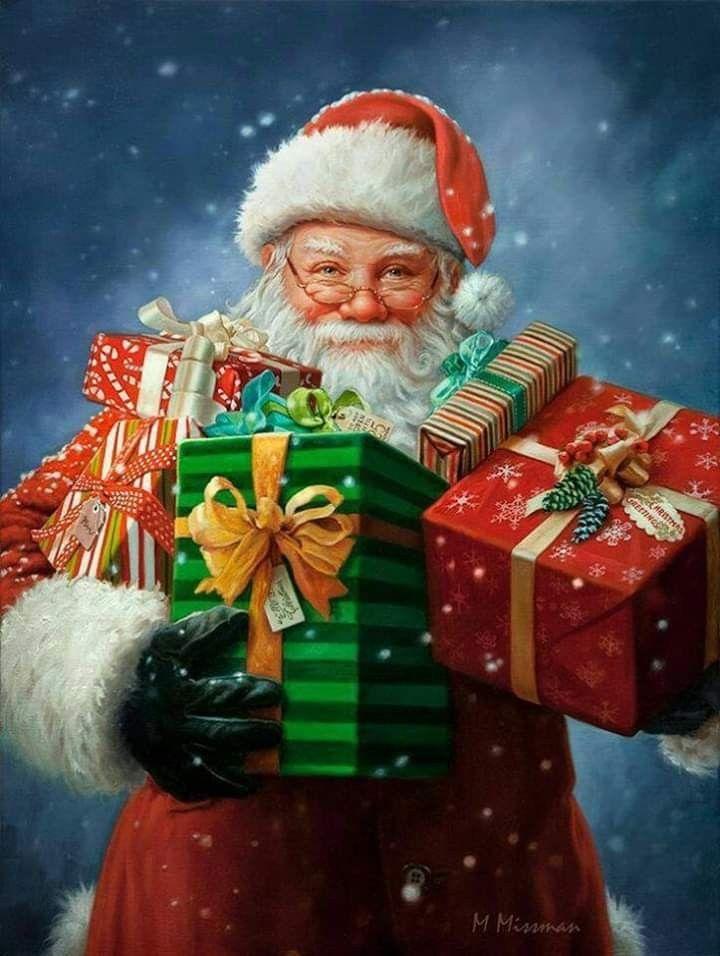 Санта с подарками открытки