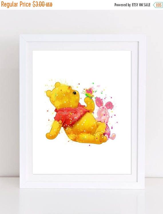 70%OFF Winnie the pooh watercolor piglet poster winnie the