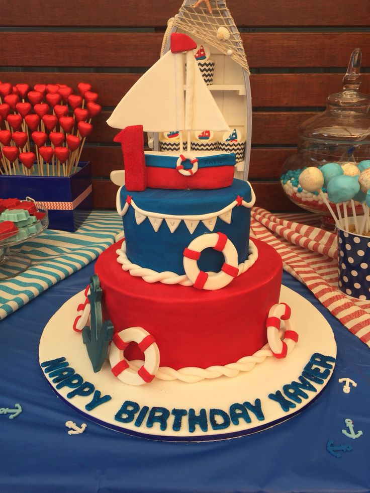 1st birthday nautical theme cake made by me for my son.