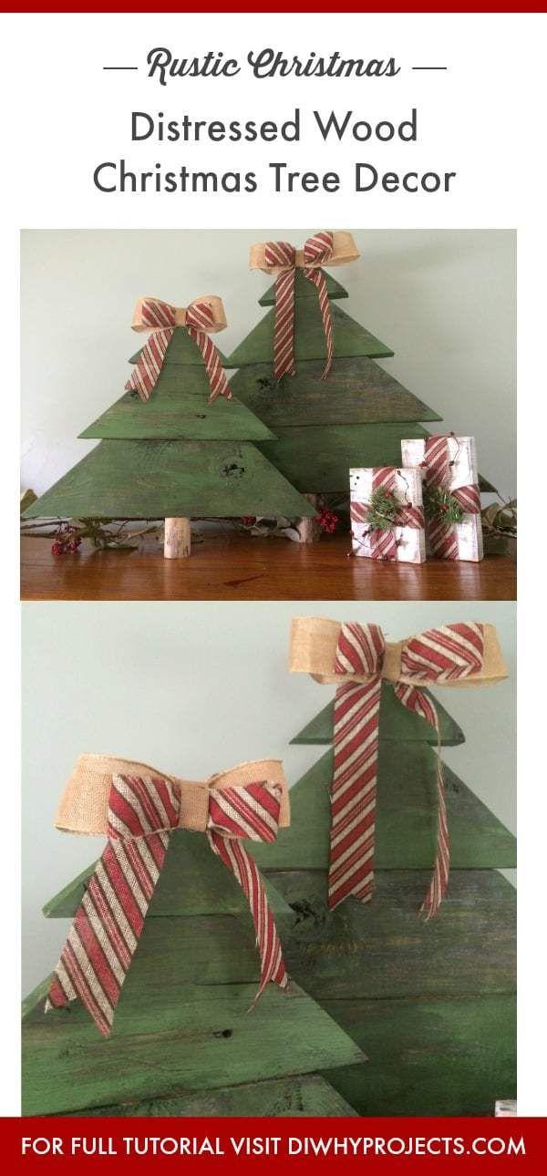 DIY Rustic Wood Christmas Tree Decor Pallet stuff Pinterest