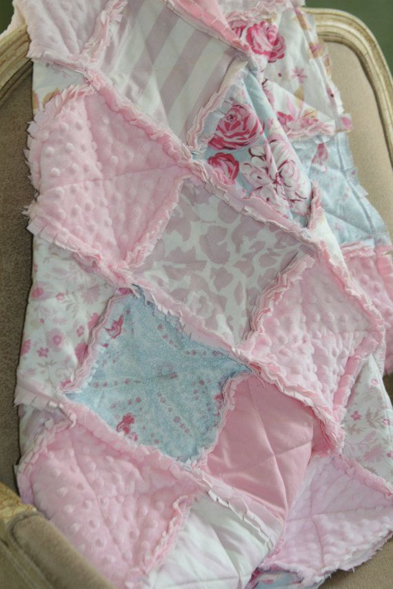 Baby Girl Rag Quilt Shabby Chic Rag Quilt Pink Blue by justluved