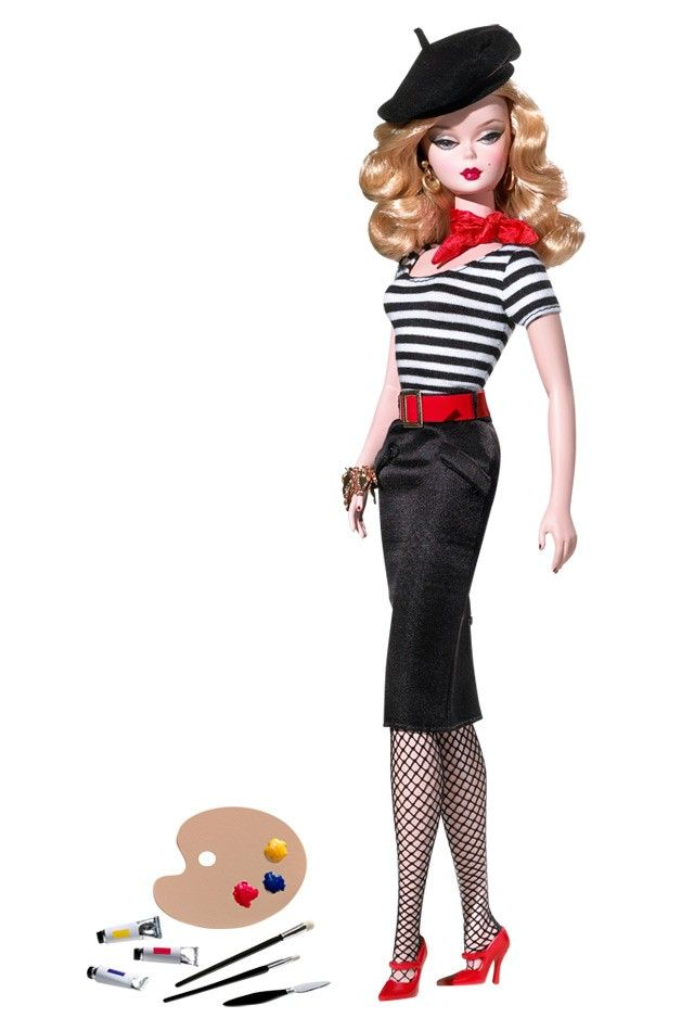~ The Artist Barbie® ~ is quite the artistic vision herself. From the black beret perched atop honey blond hair to the chic black and white striped top, straight black skirt, fishnet stockings, and fire engine red accessories.