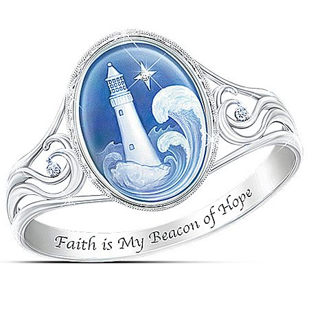 Thomas Kinkade Waves Of Hope Women's Sterling Silver-Plated Ring Engraved With Faith Is My Beacon Of Hope