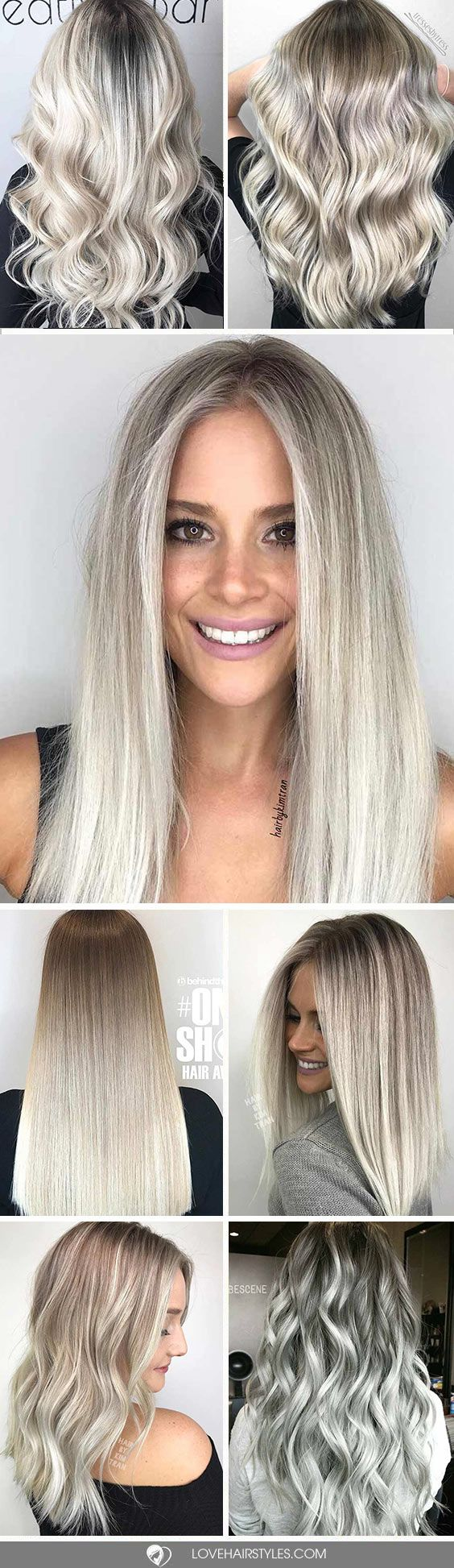 A platinum hair color is literally the lightest among all the other blonde hues. The great news is that such hair shades will compliment any eye color and fair to medium complexion. Plus, you can opt for platinum disregarding your age (the shades are quite mild) and hair length. #haircolor #platinumhair #platinumblonde #blondehighlights #blondebalayage