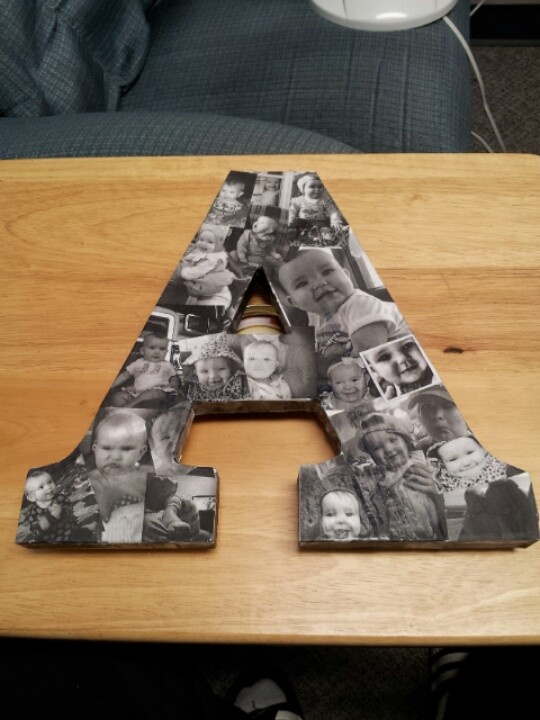 Initials covered with pictures! What a great DIY gift!
