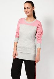 Sweatshirts are an essential part of your winter wardrobe and therefore Adidas brings to you this super-stylish sweatshirt. Pink and grey in colour, this regular-fit sweatshirt will lend you a trendy appearance when paired with skinny-fit jeans and canvas shoes. Made from 100% cotton, it is light in weight and will ensure breathability all day long.