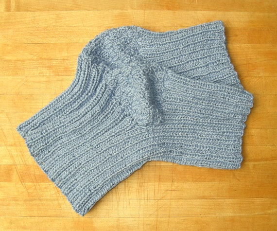 Blue Knee Warmers Knit With Cotton/Acrylic Fits Men by KnitPiks, $27.00