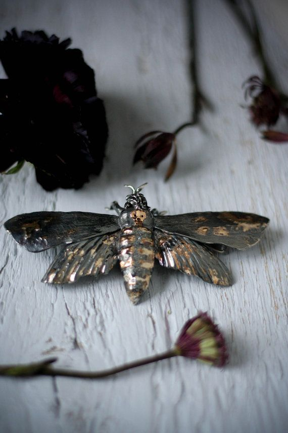 Moth brooch insect jewelry silver and gold moth by TheManerovs