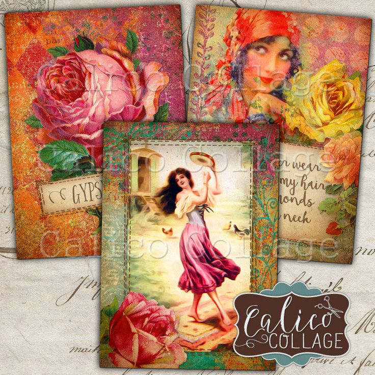 Gypsy Love, Digital Tags, Junk Journal, Vintage Gypsy, Printable Tags, Digital, Collage Sheet, Printable Download, Digital Collage, ATC Size by calicocollage on Etsy