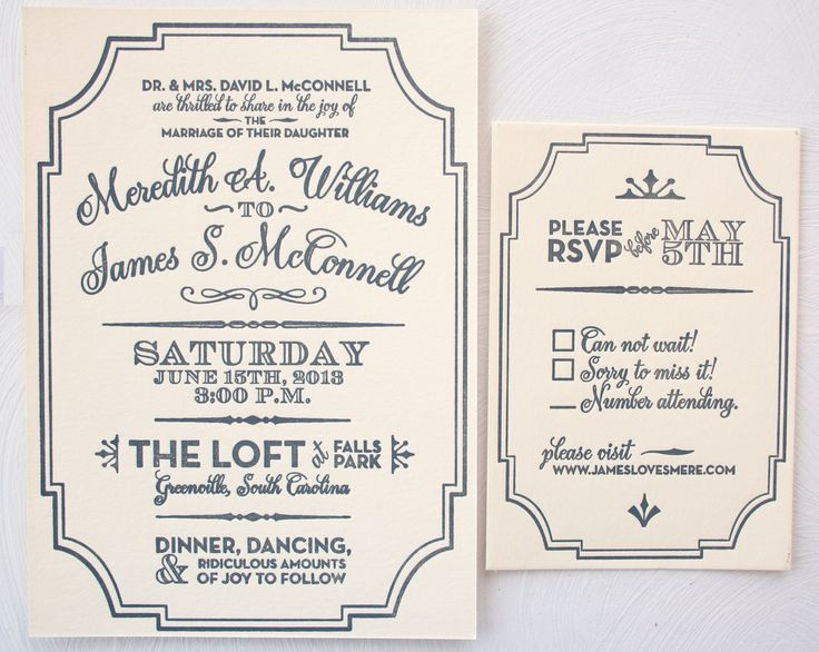 Modern Vintage Gatsby Style Wedding Invitation Letterpress Printed Gray And Cream