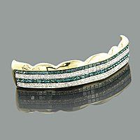 Hip Hop Jewelry 14K White Blue Real Diamond Grillz 4.73