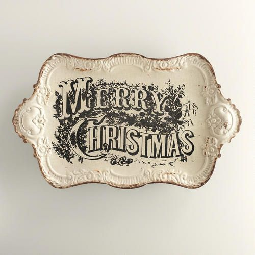 Vintage Merry Christmas Tray at Cost Plus World Market - Full of Victorian charm, our exclusive Vintage Merry Christmas Tray serves up holiday drinks in unique style. >> #WorldMarket