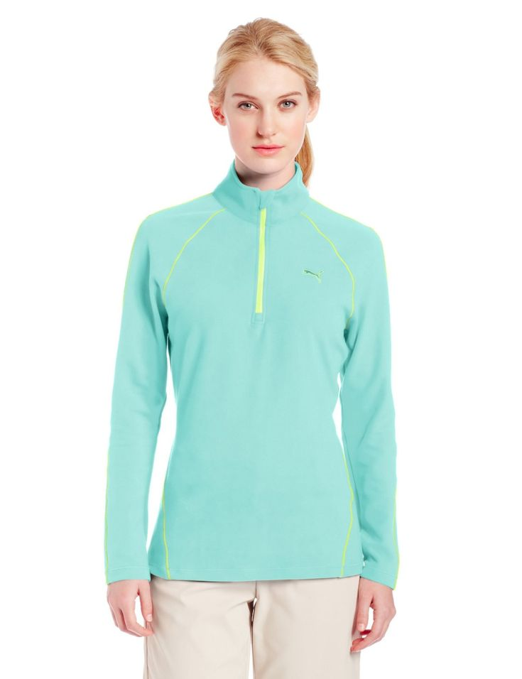 This cozy womens NA long sleeve golf polo top by Puma  utilizes stretch dryCELL fabrication for moisture wicking porperties that help keep you dry and comfortable