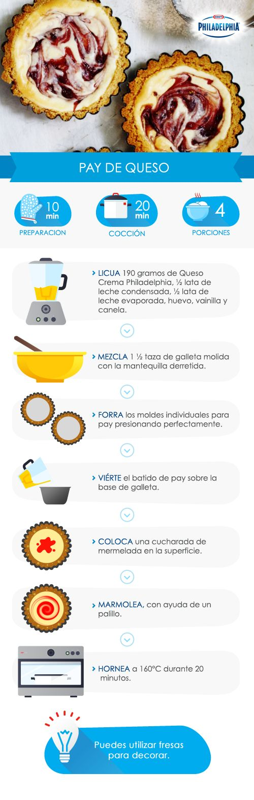 #FestivalDeLa Tarta Prepara un pay de Queso con Queso Crema Philadelphia, transfórmalo de rico a delicioso.