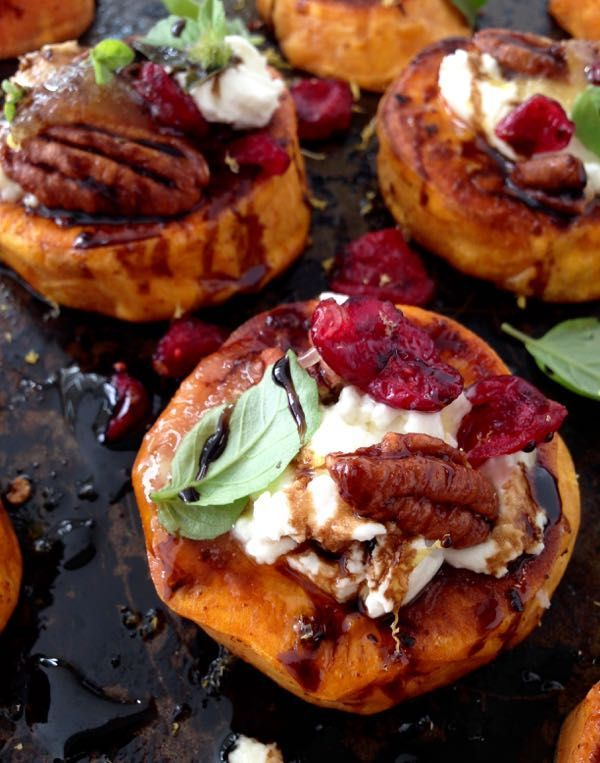 Sweet Potato Rounds Recipe with Goat Cheese, Cranberries & Honey Balsamic Glaze, finished a blood orange infused olive oil.