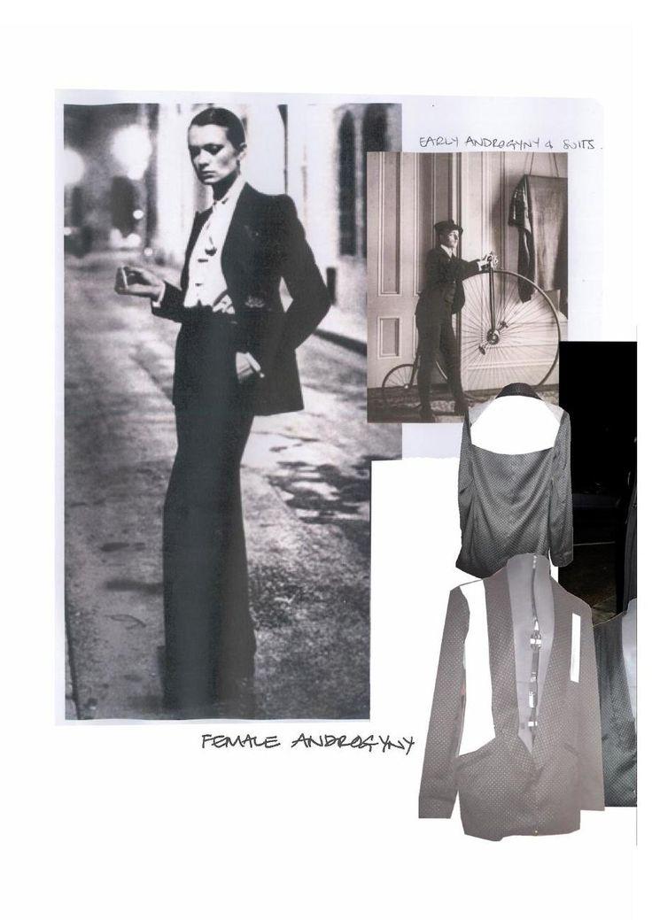 Fashion Moodboard - chic androgyny theme inspirations, fashion design portfolio // Lowri Edwards