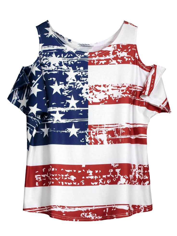 Cold Shoulder American Flag T Shirt - WHITE ONE SIZE