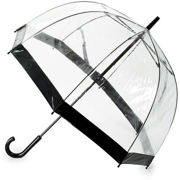 Saks Fifth Avenue Birdcage Stick Umbrella (£19) ❤ liked on Polyvore featuring accessories, umbrellas, umbrella, see through umbrella and transparent umbrella