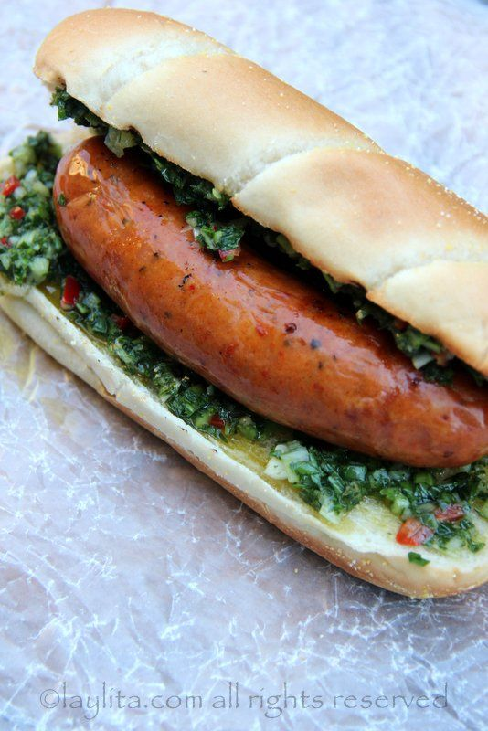 Choripan or chorizo hot dog with chimichurri sauce