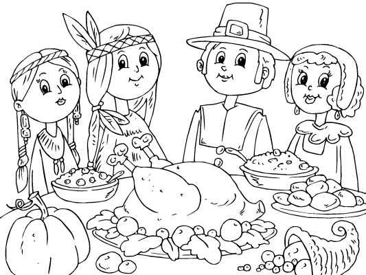 7 Best Free Thanksgiving Coloring Pages Images On Pinterest - thanksgiving meal coloring pages